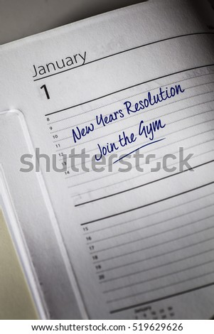 Join a Gym New Years Resolution in the diary