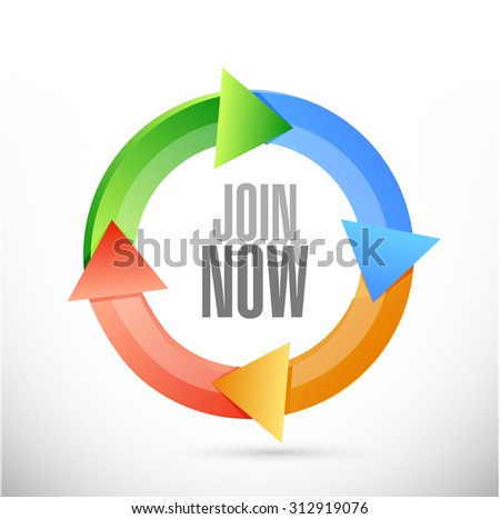 Join Now cycle sign concept illustration design graphic - stock photo
