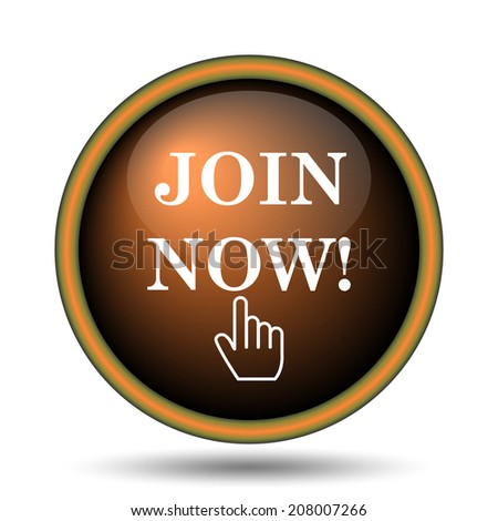 Join now icon. Internet button on white background.  - stock photo