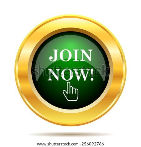 Join now icon. Internet button on white background.  - stock photo