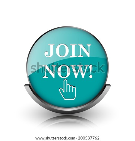Join now icon. Metallic internet button on white background.  - stock photo