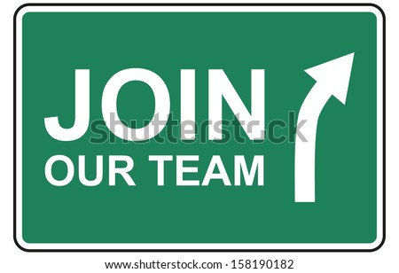 Join our team traffic sign isolated on white background. Human resource concept