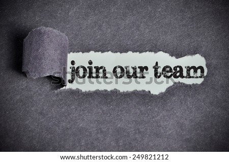 join our team  word under torn black sugar paper  - stock photo
