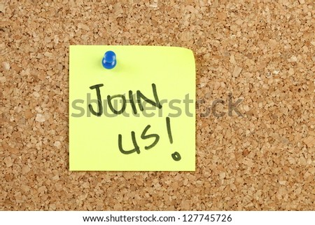 Join us on yellow paper note - stock photo