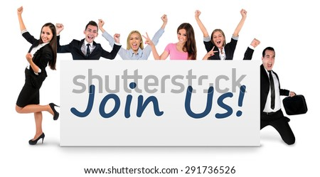 Join us word writing on banner - stock photo