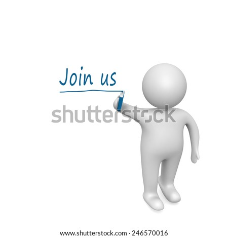 join us words written  by a man - stock photo