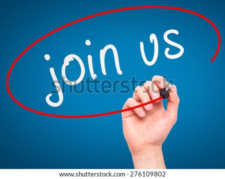 join us words written by man hand on a transparent board. Isolated on blue. Stock Image - stock photo