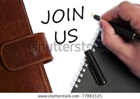 Join us write by male hand - stock photo