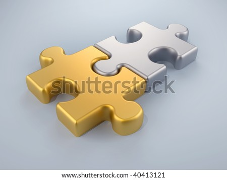 Joined gold and silver puzzle pieces - 3d render - stock photo