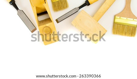 Joiner's works. Working tools on a white background. - stock photo