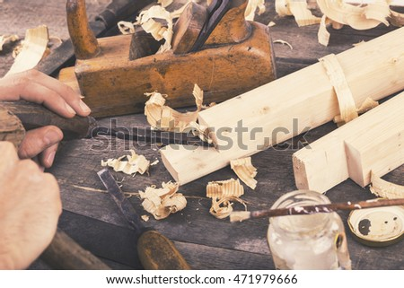 joinery - carving the wood with chisel