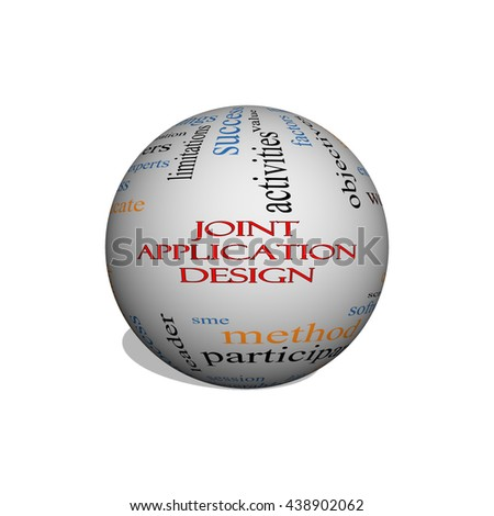 Joint Application 3D Illustration sphere Word Cloud Concept with great terms such as workflows, meetings, projects and more. - stock photo