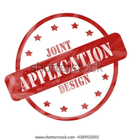 Joint Application Design Red Circle and Stars Stamp making a great concept. - stock photo