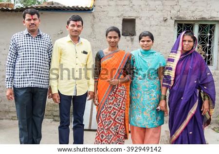 Joint family in rural village Salunkwadi, Ambajogai, Beed, Maharashtra, India, Southeast Asia - stock photo