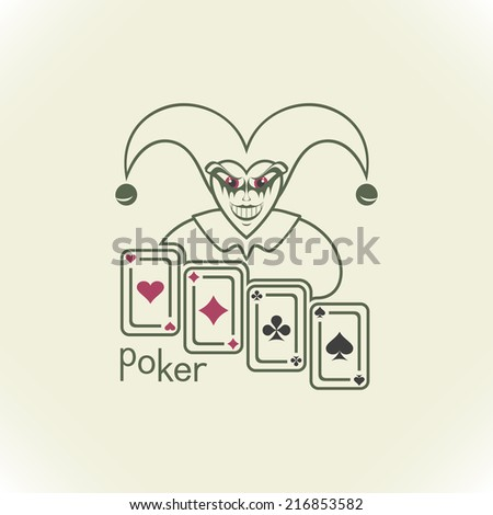 Joker and playing cards. Contour on a light background. - stock photo