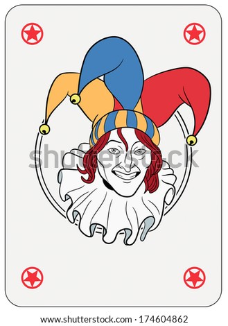 Joker face in a circle playing card  - stock photo