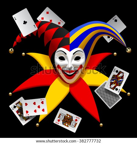 Joker head with playing cards isolated on black. Three Dimensional stylized drawing - stock photo