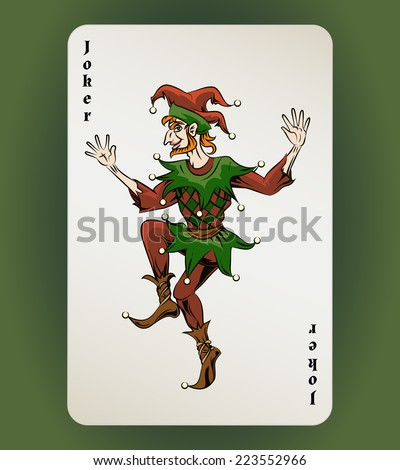Joker playing card, colored jester on white background - stock photo