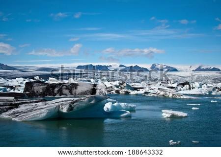 Jokulsarlon Glacial Lagoon near Vatnajokull, Iceland - stock photo