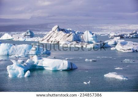 Jokulsarlon Glacial Lagoon near Vatnajokull in south coast of Iceland - stock photo