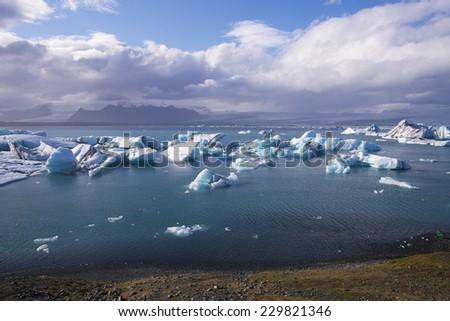 Jokulsarlon Glacial Lagoon near Vatnajokull panorama in south coast of Iceland - stock photo
