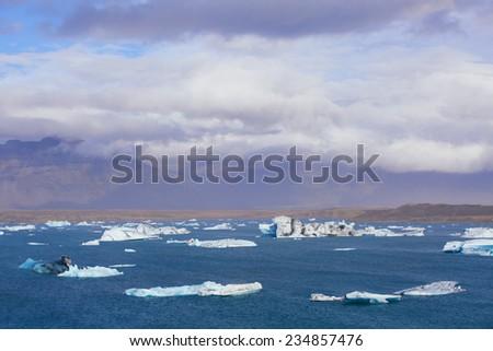 Jokulsarlon Glacial Lagoon panorama near Vatnajokull in south coast of Iceland - stock photo