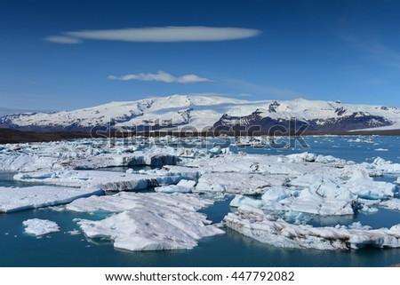 Jokulsarlon Glacier Lagoon in southeast Iceland, on the edge of Vatnajokull National Park - stock photo