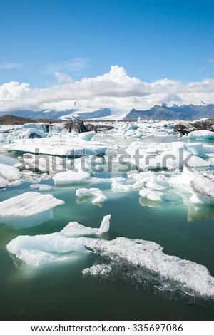 Jokulsarlon ice lagoon, view to the glacier in Vatnajokull National park, Iceland - stock photo