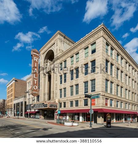 JOLIET, ILLINOIS - MARCH 8: Rialto Square Theater (1926) on Chicago Street on March 8, 2016 in Joliet, Illinois - stock photo