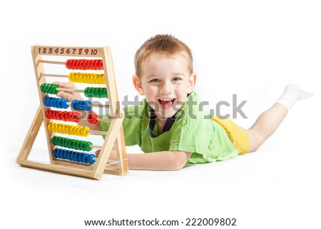 jolly baby boy with abacus isolated on white background