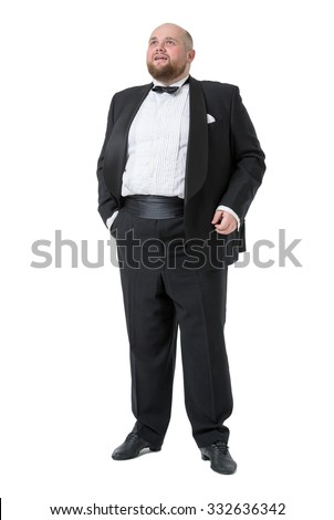 Jolly Fat Man in Tuxedo and Bow tie Shows Emotions, on white background - stock photo