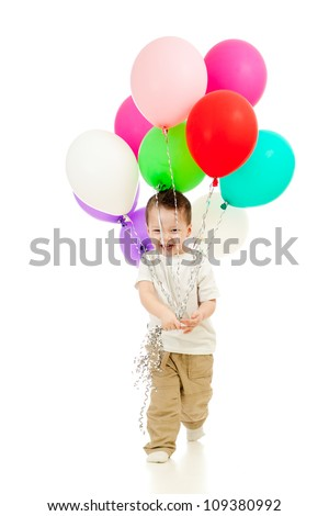 Jolly funny child boy with bunch of colourful balloons in his hands. Isolated on white. - stock photo