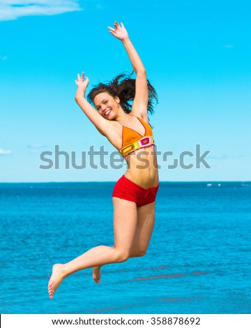Jolly Girl Jumping Happy