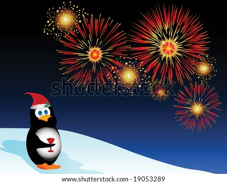 Jolly holiday illustration with a cartoon penguin watching fireworks.