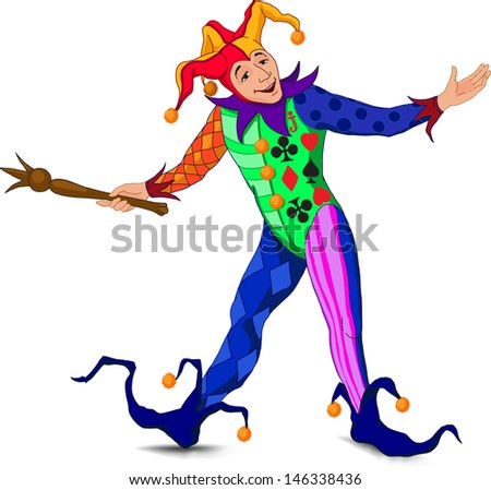 Jolly Joker who stands in a welcoming pose in a bright dress - stock photo