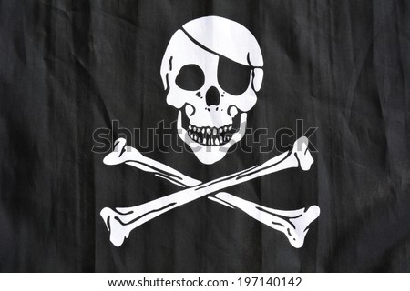 Jolly Rodger Pirate flag - stock photo