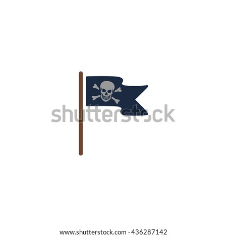 Jolly Roger or Skull and Cross bones Pirate flag. Color simple flat icon on white background - stock photo