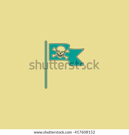 Jolly Roger or Skull and Cross bones Pirate flag. Grren simple flat symbol with black stroke over yellow background - stock photo