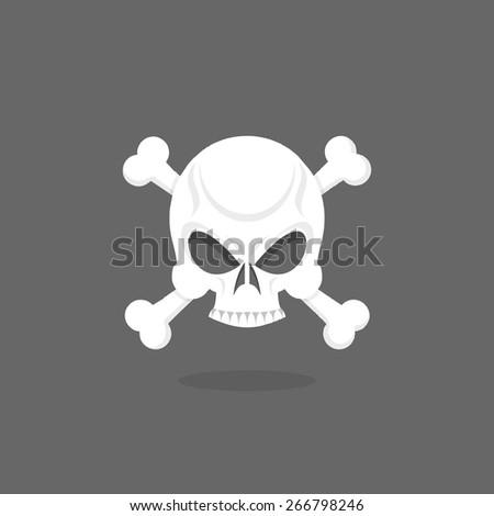 Jolly Roger. Skull and bones. pirate flag - stock photo