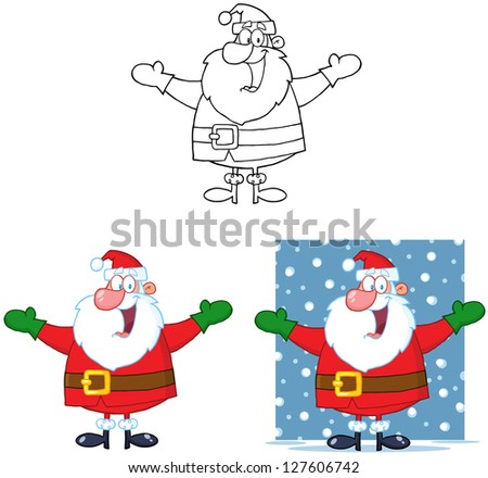 Jolly Santa Claus Cartoon Mascot Characters- Collection. Raster Illustration.Vector Version Also Available In Portfolio. - stock photo