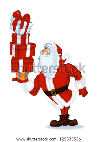 Jolly Santa Claus with gifts in the form of boxes