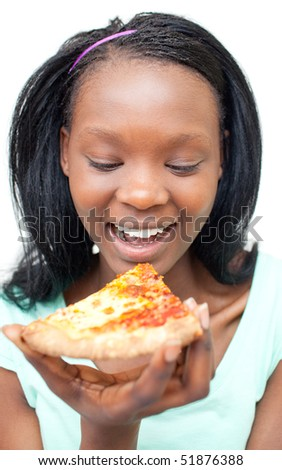 Jolly young woman eating a pizza against a white background - stock photo
