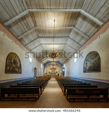 JOLON, CALIFORNIA - JULY 28: Interior of the church at the Mission San Antonio (de Padua) on Mission Creek Road on July 28, 2016 near Jolon, California