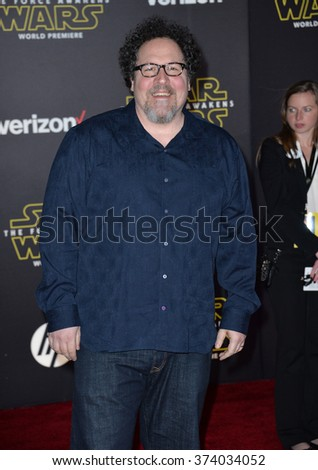 "Jon Favreau at the world premiere of ""Star Wars: The Force Awakens"" on Hollywood Boulevard. December 14, 2015  Los Angeles, CA Picture: Paul Smith / Featureflash - stock photo"