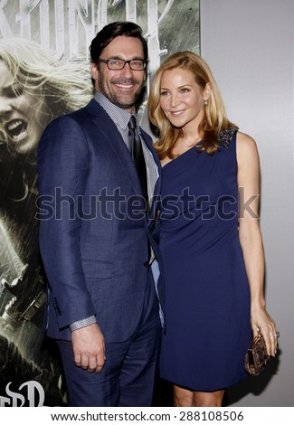 Jon Hamm and Jennifer Westfeldt at the Los Angeles premiere of 'Sucker Punch' held at the Grauman's Chinese Theater in Hollywood on March 23, 2011.  - stock photo