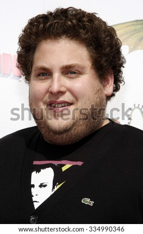 "Jonah Hill at the Los Angeles Premiere of ""How To Train Your Dragon"" held at the Gibson Amphitheater in Universal Studios, United States on March 21, 2010.   - stock photo"