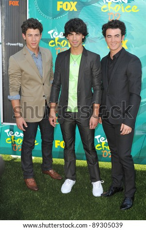 Jonas Brothers at the 2009 Teen Choice Awards at the Gibson Amphitheatre, Universal City. August 9, 2009  Los Angeles, CA Picture: Paul Smith / Featureflash - stock photo