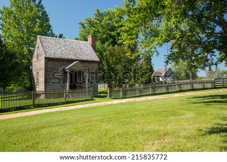 Jones Law Office cabin at Appomattox County Courthouse National Park Virginia - stock photo