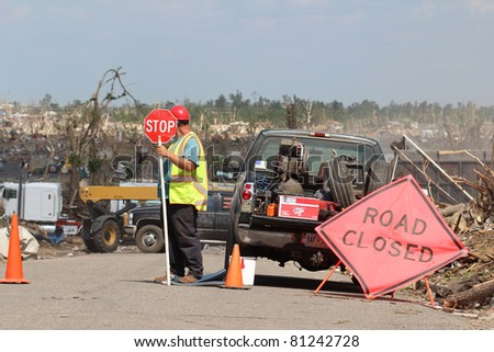JOPLIN, MO - JULY 17: After an EF5 tornado destroyed a large portion of this midwest town cleanup is well underway but will take time. July 17, 2011 in Joplin, MO - stock photo