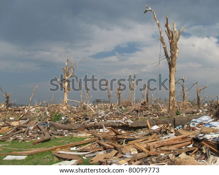 JOPLIN, MO TORNADO ON MAY 21, 2011 DEVASTATES CITY, ST JOHNS HOSPITAL IN BACKGROUND - stock photo